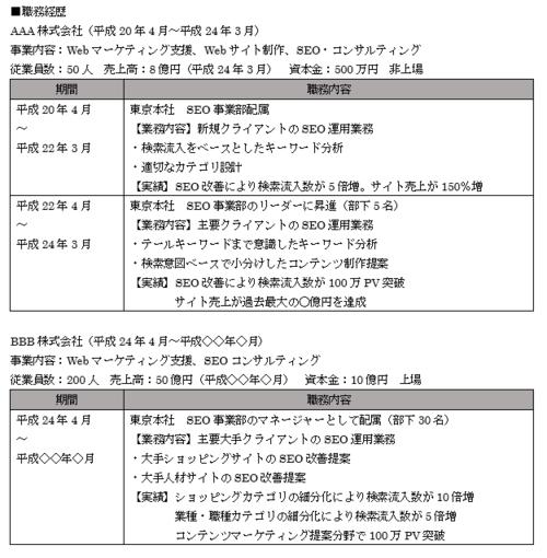 編年体形式の職務経歴