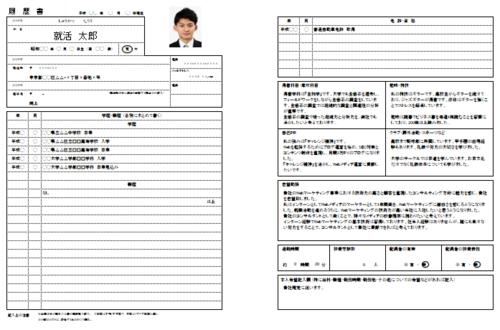 就職活動の履歴書例