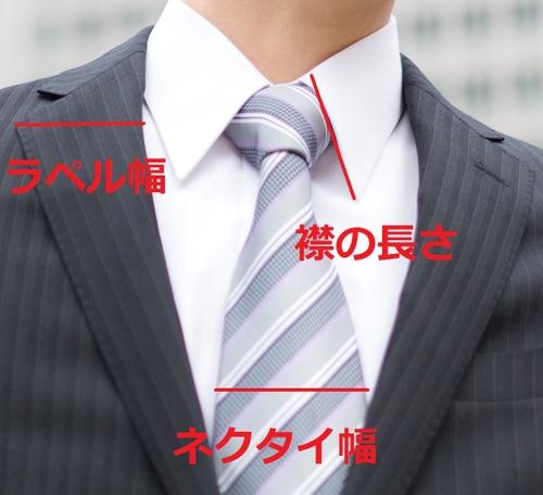 ネクタイとラペルの幅は合わせる